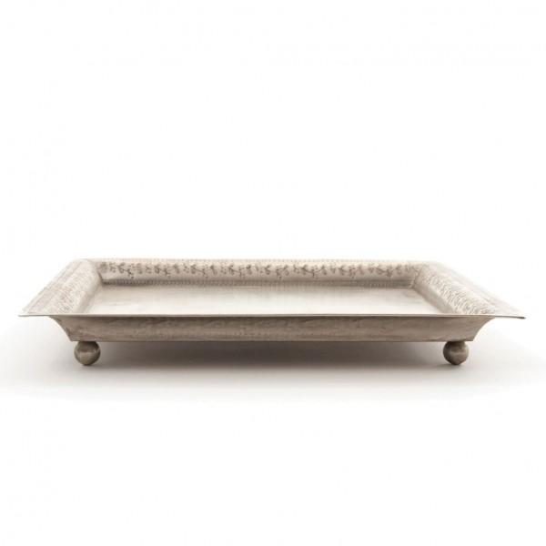 Teller eckig, vernickelt, silber, L 26 cm, B 26 cm, H 3 cm