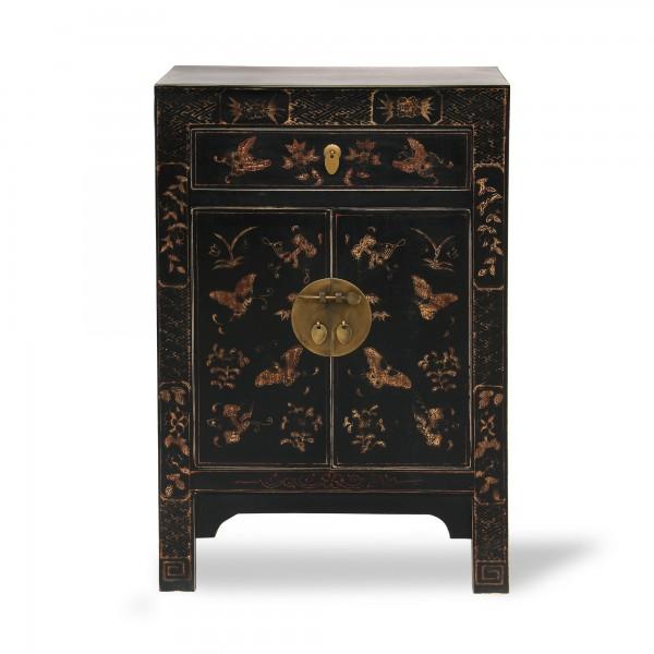 Kommode 'Schmetterling', 1 Schublade, 2 Türen, gold, schwarz, T 37 cm, B 58 cm, H 85 cm