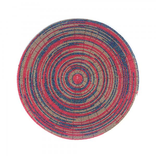 Ablage Glasperlen red/gold, B 30 cm, L 30 cm, H 3 cm