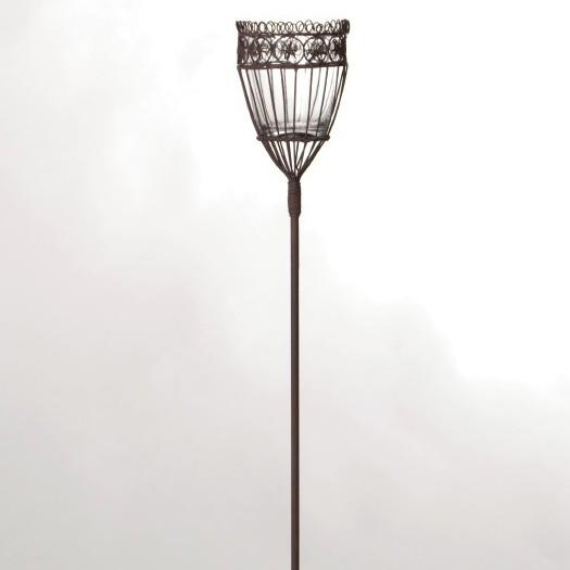 Steckeisen 'Chateauroi', mit Teelichthalter aus Draht und Glaseinsatz, antik-braun, H 95 cm