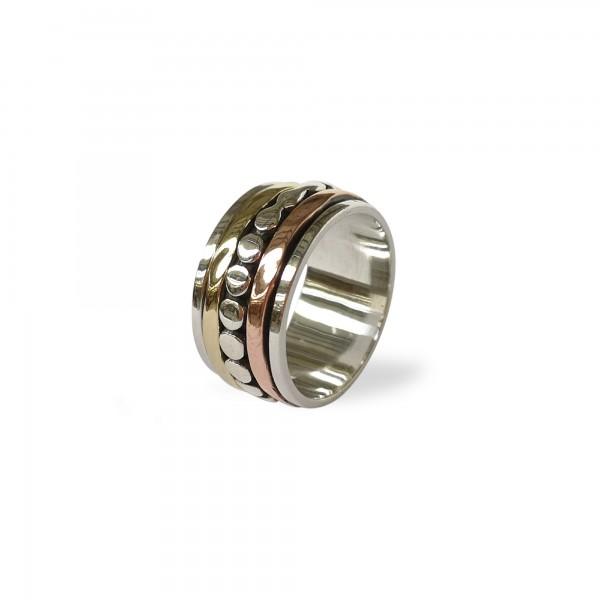Ring 925 Silber mit Kupfer- und Messingband, Silber, Kupfer, Messing