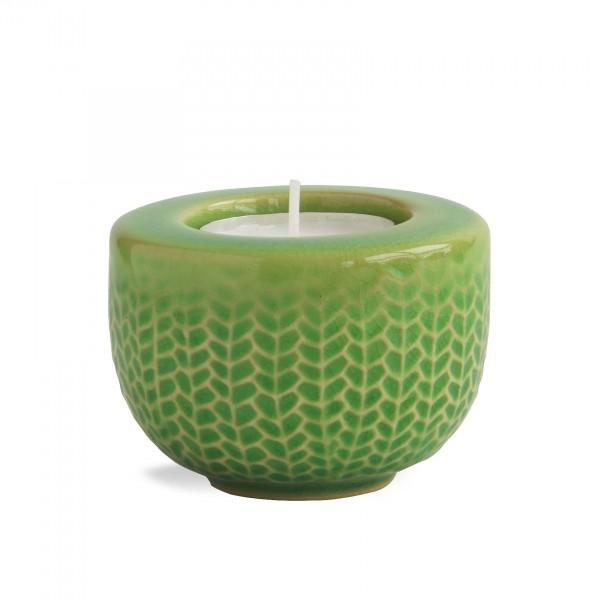 Teelichthalter 'Fischgrät', hellgrün, Ø 7 cm, H 5 cm