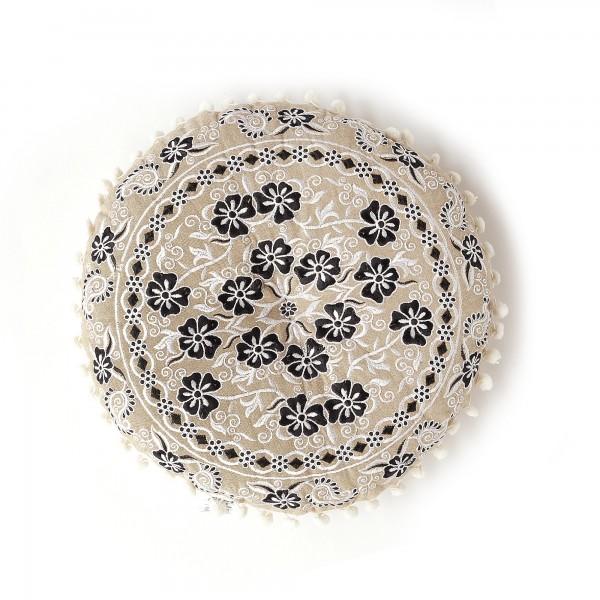 Sitzkissen 'Tipatiya' mit Pompon, beige, schwarz, weiß, Ø 40 cm, H 5 cm