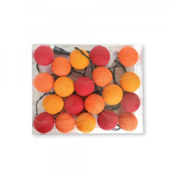 Lichterkette 20er Ping Pong, montiert, LED, gelb, orange, rot