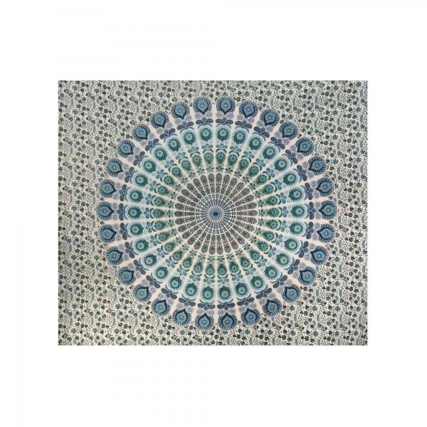 "Tagesdecke ""Sorry"", aus 100% Baumwolle, türkis/weiß, L 210 cm, B 245 cm"
