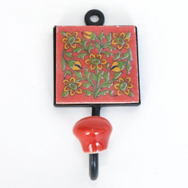 """Wandhaken mit Fliese """"Blume"""", rot, B 5,5 cm, H 10,5 cm"""