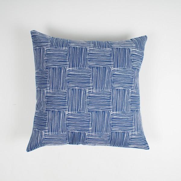 "Kissenhülle ""Maschen"", blau/weiß, L 45 cm, B 45 cm"