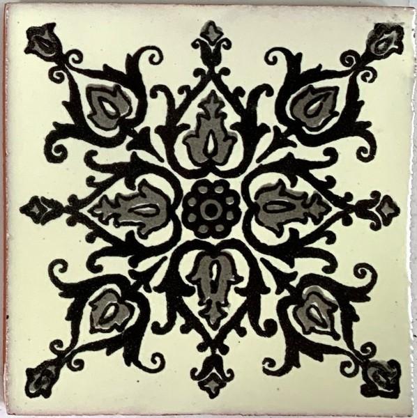 Kachel 'La Paz', grau, schwarz, T 10 cm, B 10 cm, H 0,5 cm
