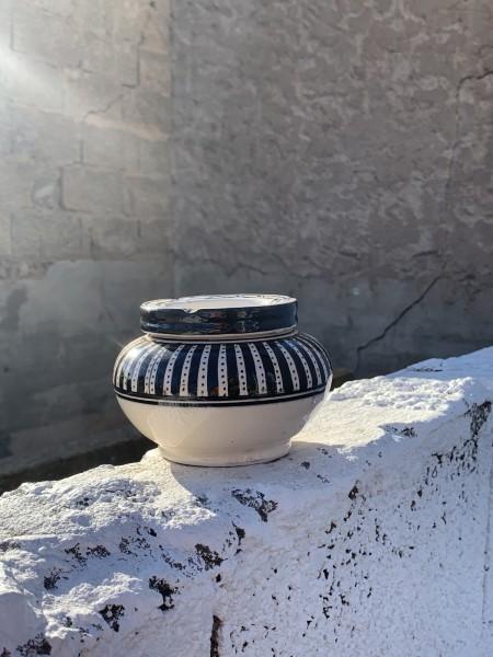 Keramik-Aschenbecher, schwarz, weiß, Ø 12 cm, H 8 cm