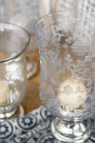 Windlicht 'Tajo', durchsichtig, silber, Ø 18 cm, H 35 cm