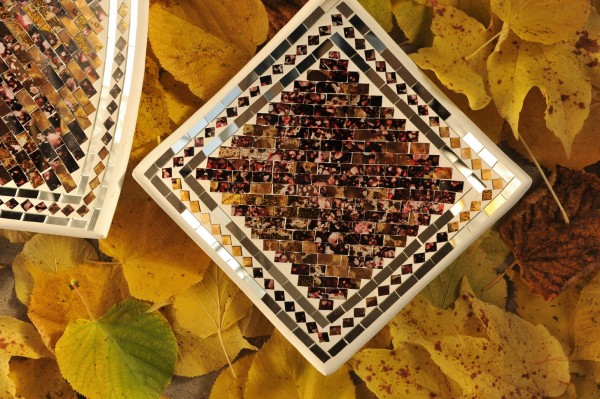 Mosaikteller 'Tanned' L, multicolor, L 28 cm, B 28 cm, H 8 cm