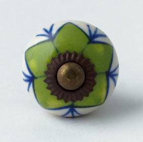 Türknauf rund, grün/blau, Ø 3 cm