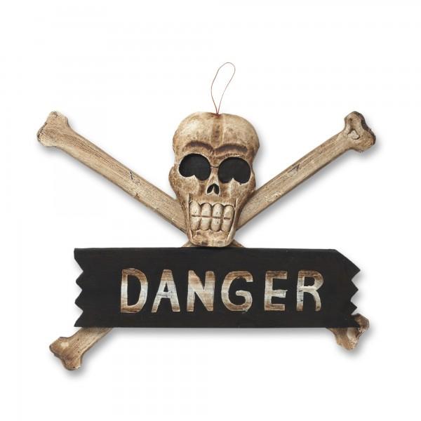 Schild 'Danger', braun, schwarz, weiß, T 2 cm, B 35 cm, H 20 cm