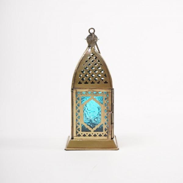 "Laterne ""Salè"", messing/türkis, L 8 cm, B 8 cm, H 18 cm"