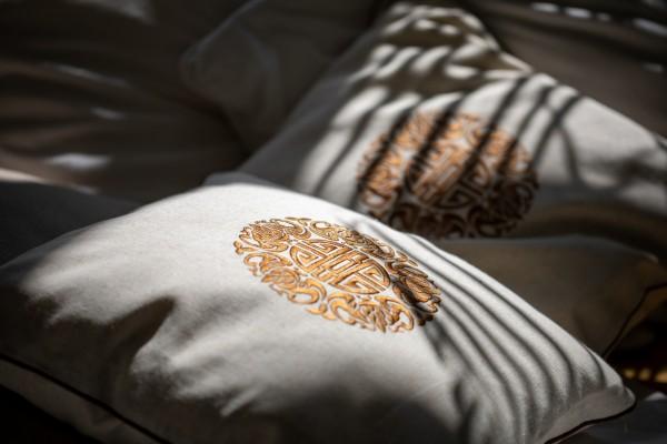 Kissenhülle 'Longlife', beige, braun, L 45 cm, B 45 cm