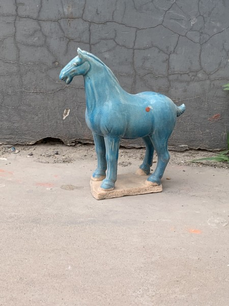 Keramikpferd 'Tang Dynastie', blau, T 21 cm, B 8 cm, H 21 cm