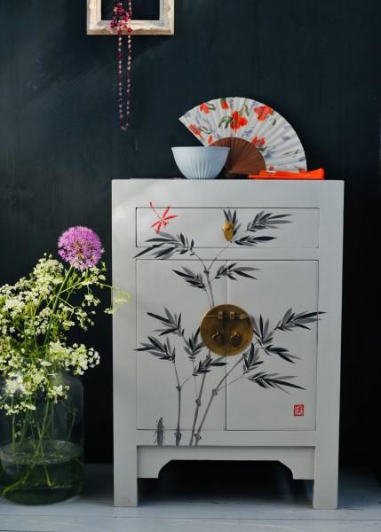 Kommode 'Farn', 1 Schublade, 2 Türen, weiß, schwarz, T 37 cm, B 58 cm, H 85 cm