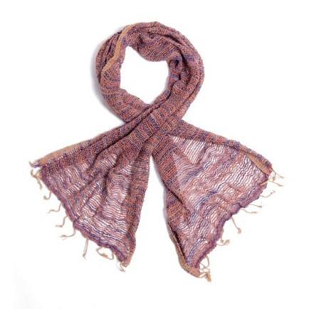 Baumwollschal aus Thailand, mauve/grau, L 175 cm, B 50 cm