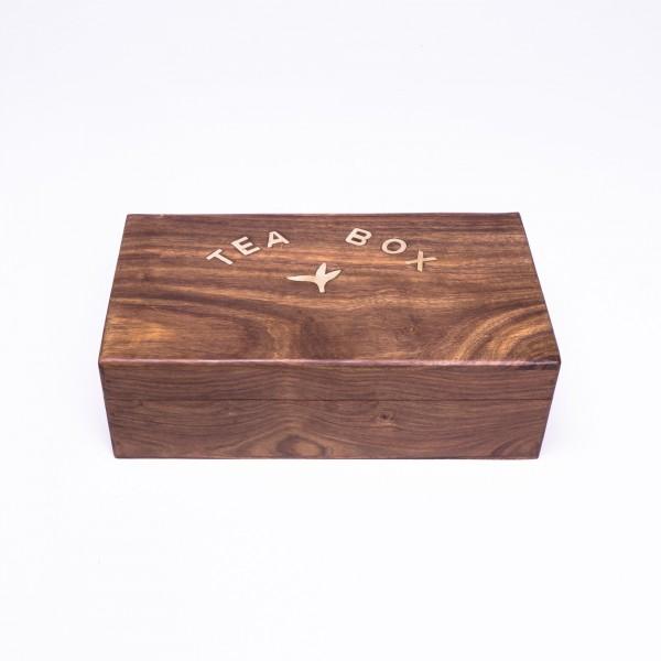 Teebox 'Blatt' aus Palisanderholz, braun, L 17 cm, B 30 cm, H 9 cm