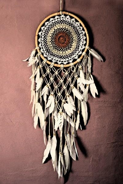 Traumfänger Mandala, weiß, Ø 32 cm, H 100 cm