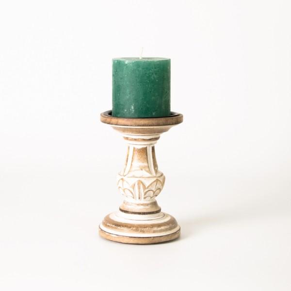 Handgeschnitzter Kerzenständer, braun, H 15 cm, Ø 9 cm