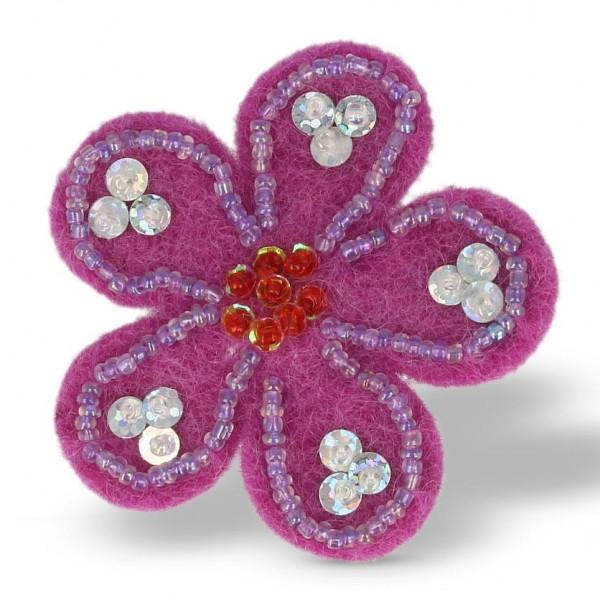 "Brosche ""Blume"", lila, Ø 6 cm"