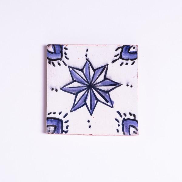 """Fliese """"Etoile"""", blau/weiß, L 10 cm, B 10 cm, H 1cm"""