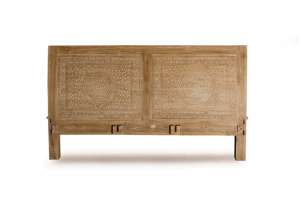 Bettrahmen 'Roll' aus Teakholz, braun/gekälkt, B 160 cm, L 200 cm, H 110 cm