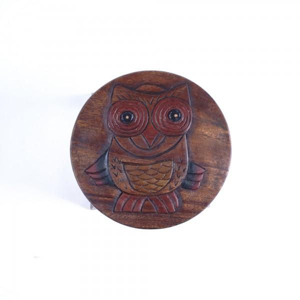 Massive kleine Hocker, braun/multicolor, H 25 cm, Ø 25 cm
