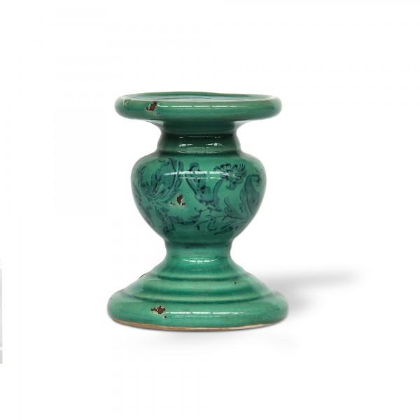 Kerzenhalter Keramik, mintgrün, Ø 11 cm, H 14 cm