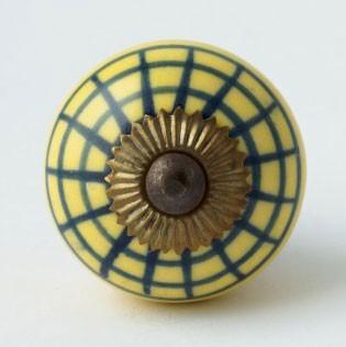 Türknauf rund, gelb/blau, Ø 4 cm