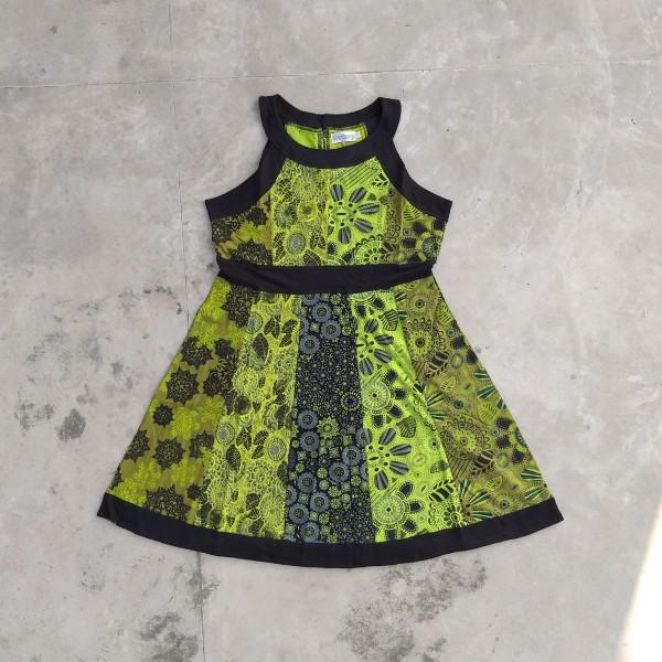 Kleid 'Estrel' M, schwarz, lemon, oliv