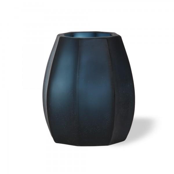 Glasvase 'Octagonal' klein, blau, T 12 cm, B 12 cm, H 14 cm