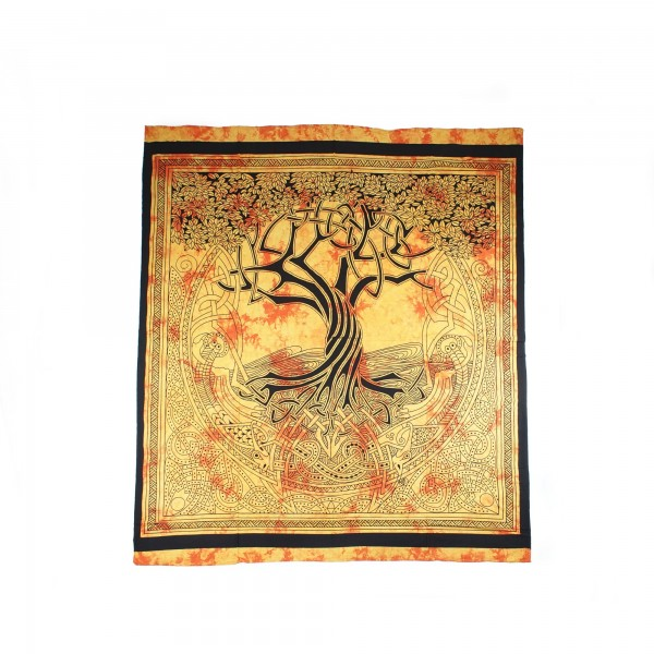 """Tagesdecke """"Baumkreis"""", aus 100% Baumwolle, orange, L 250 cm, B 220 cm"""