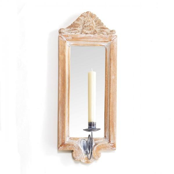 Wandkerzenhalter mit Spiegel, natur-gekälkt, B 20 cm, H 53 cm
