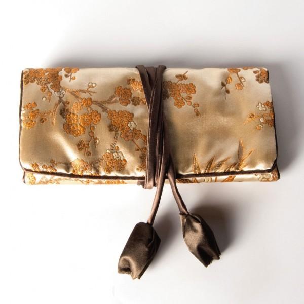 Schmucktäschen faltbar, gold, B 19 cm, H 9 cm