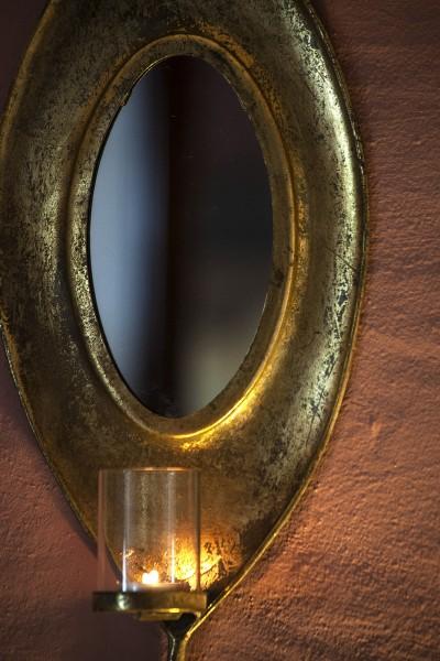 Windlicht 'Blatt' mit Spiegel, antik-gold, B 22 cm, H 55 cm