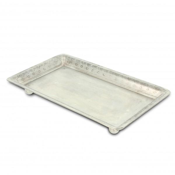 Teller eckig, vernickelt, silber, L 19,5 cm, B 12 cm, H 2,5 cm