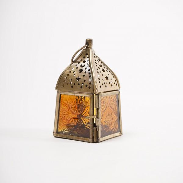 """Teelichthalter """"Laterne Tanger"""", messing/orange, L 5 cm, B 5 cm, H 10 cm"""