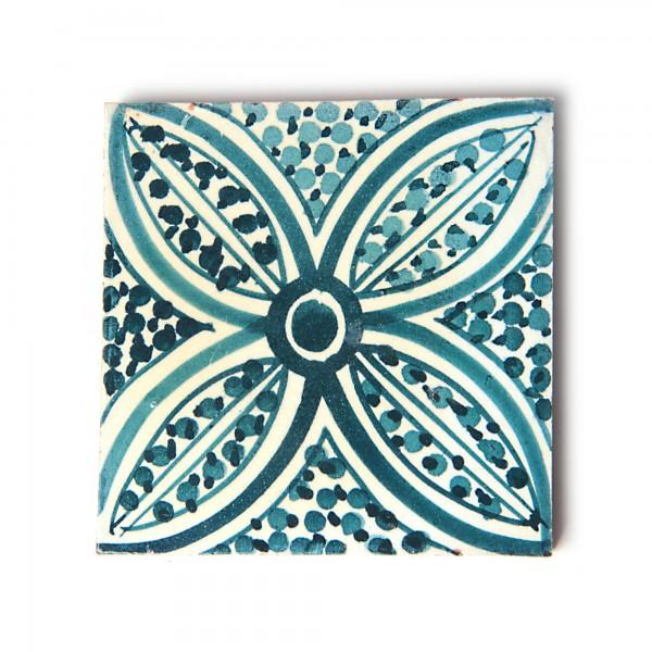 Fliese 'fleurs', türkis/weiß, L 10 cm, B 10 cm, H 1 cm