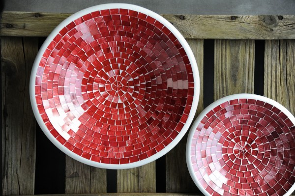 Glasmosaikteller S, rot, Ø 19,5 cm, H 3,5 cm