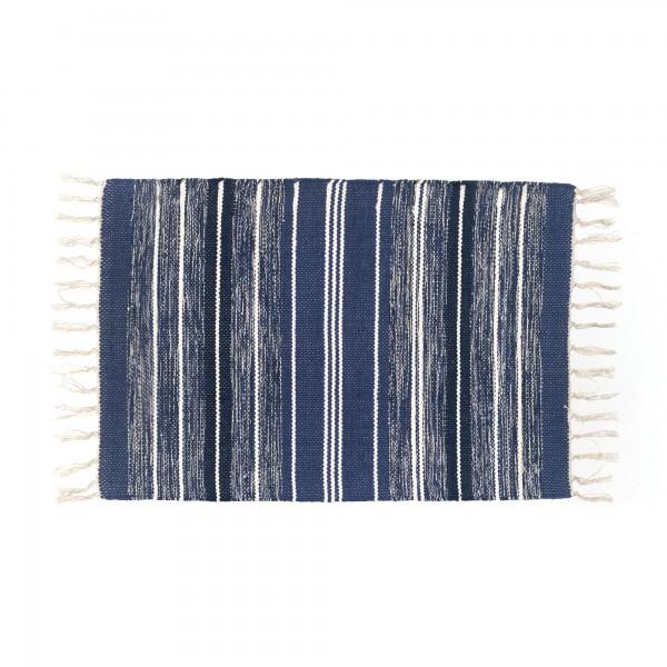 Mini-Rug 'Konam', weiß, blau, T 60 cm, B 90 cm
