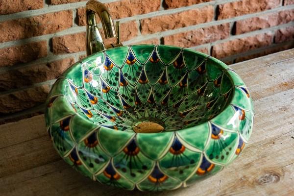 Keramikaufsatzwaschbecken 'Pfau', grün, T 40 cm, B 40 cm, H 13 cm