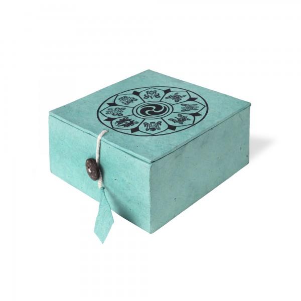 Lokta Box Glückssymbole, aqua, schwarz, T 11 cm, B 11 cm, H 5,5 cm