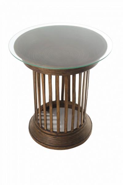 Opferschalentisch mit Glasplatte, braun, H 60 cm, Ø 57 cm