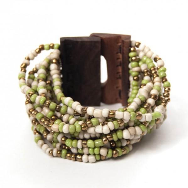 Armband mit Holzverschluss, grün/beige