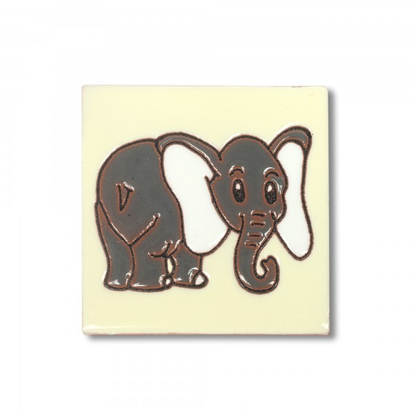 Reliefkachel 'Elefante', gelb, schwarz, weiß, T 10 cm, B 10 cm, H 0,5 cm