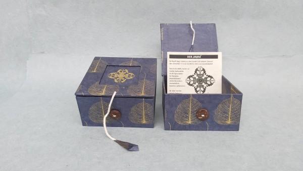Lokta Box Peepal Vajra, blau, T 11 cm, B 11 cm, H 5,5 cm