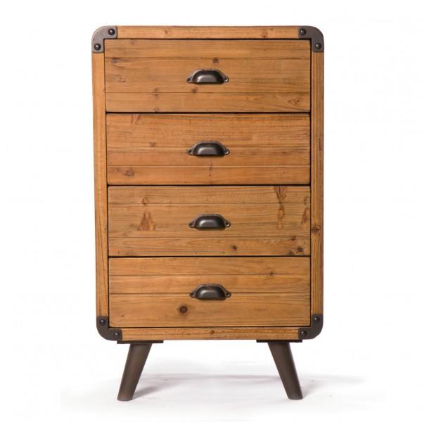 Kommode 'Oldham', mit 4 Schubladen, braun, L 36 cm, B 54 cm, H 89 cm