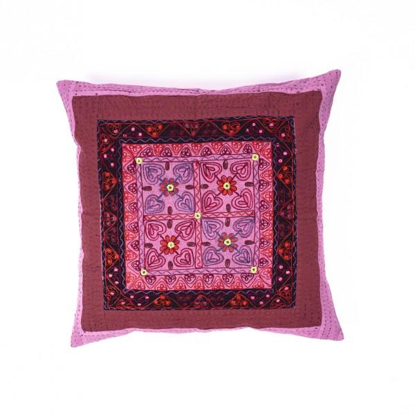 "Handbestickte Kissenhülle ""Modi"", lila/rosa, L 60 cm, B 60 cm"